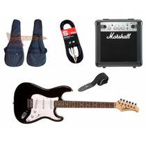 Guitarra Silvertone Strato Ss15 Ampli Marshall Mg10 Acce