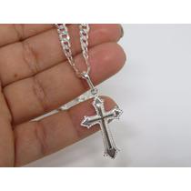 Corrente Cordão Grumet + Pingente Crucifixo Em Prata 925
