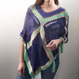 Poncho Crochet Tejido A Mano Con Borlas Estilo Boho De Lana