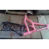 Quadro Bicicleta 26 Amortecedor/full Tras. Rosa Neon/pto Dis