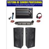 Equipo De Sonido Completo Columnas Ampli Y Consola De 16 Usb
