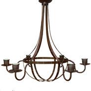 Lámpara Colgante Araña Pera 6 Luces - Chapa Hierro Óxido