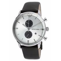 Relógio Emporio Armani Ar0385 Original Prata Preto De Couro
