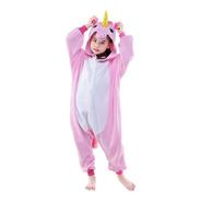 Pijama Unicornio Rosado Kigurumi 3-12 Años Enterizo Polar