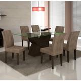 Conjunto Sala De Jantar Mesa Malta 1,60m E 6 Cadeiras