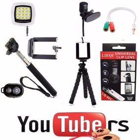 Kit Youtuber Celular Tripe Flexivel+ Microfone Lapela +flash