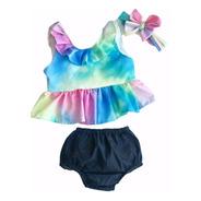 Conjunto Bebê Menina Tie Dye Mesversário Verão Mini Diva
