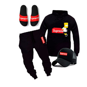 Kit Moletom Calça Boné Chinelo Supreme Skate Conjunto Top!