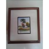 M. Krieger - Oleo S Eucatex Casa Com Araucaria 23x20 Cm 1985