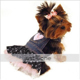 Roupa Jeans Vestido De Renda Saia Pet Cachorro Gato Cão Mini