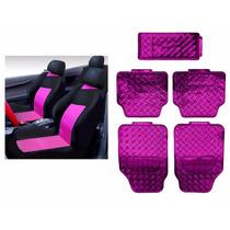 Kit Jogo De Capas De Banco E Jogo De Tapetes Rosa Pink