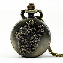 Relógio De Bolso Bronzeado Vintage - Dragão Horóscopo Chinês