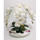 Arranjo Orquídeas Silicone Artificiais Vaso Espelhado 4