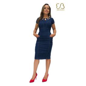 Vestido Larissa Jeans C/ Lycra E Bolso Moda Evangélica