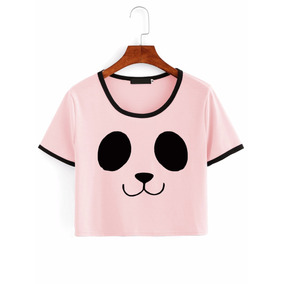 Camiseta Crop Top Cara De Osito Oso Ojos Panda Colores