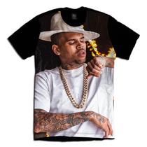 Camiseta Hip Hop Usa Swag Chris Brown Chapeu Branco Colar