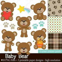 Kit Imprimible Ositos Nene 5 Imagenes Clipart