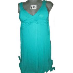 Vestido Plus Azul/verde Largo Talla 1 X. Extragrande