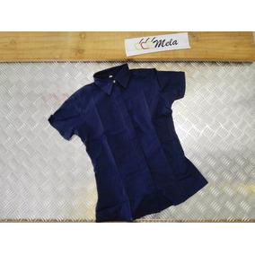Camisa Dama Manga Corta Azul Marino Algodon Egipcio T-14