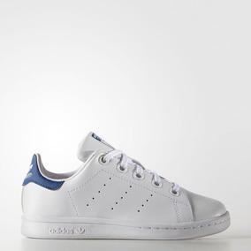 Tenis adidas Stan Smith Blanco/azul Jr