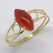 Anel Em Ouro 18k Com Pedra Jade Vermelha Navete Linda Jóia