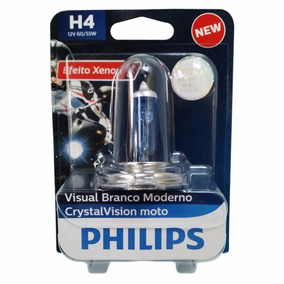 Lampada Phillips Super Branca Motos Crystal Vision H4 60/55w