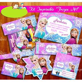 Kit Imprimible Frozen Fiesta Bolo Piñata Invitaciones Dulces