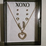Set Xoxo Original 4 Pares De Aros + Colgante -035