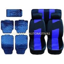 Bora Jogo Capa Para Banco Carro + Kit Tapete Azul