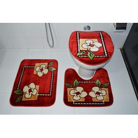 Jogo De Banheiro Royal Luxury Vermelho Des:103 Marca Rayza