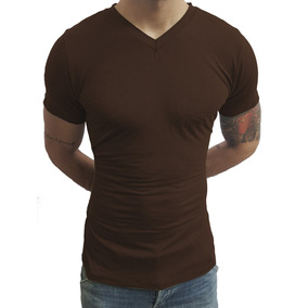 Camisa Slim Gola V Rasinha Masculina Com Elastano