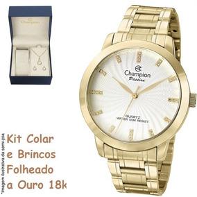 Relógio Champion Feminino Banhado A Ouro Cn29276h + Brinde