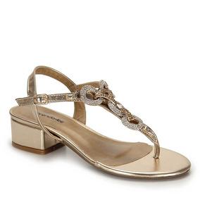 Sandália Salto Grosso Brenda Lee Medelin Trase - Dourado