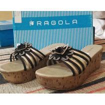 Zapato Sandalia Taco Chino Nº 38 Y 37 Cuero Fragola * Ferli