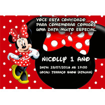 15 Convites Personalizado Minnie Vermelha
