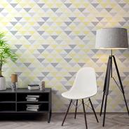 Papel De Parede Adesivo Triângulo Amarelo Branco E Cinza