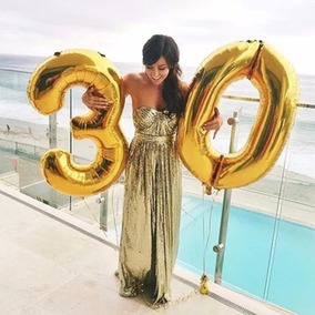 Balão Metalizado Número Kit Com 4 Dourado Prata 72 À 75cm