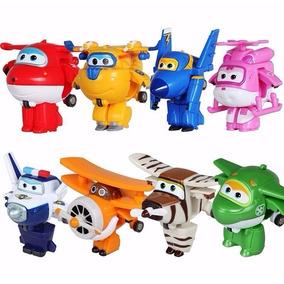 Kit 8 Super Wings Mini Aviões Discovery Kids Transformers
