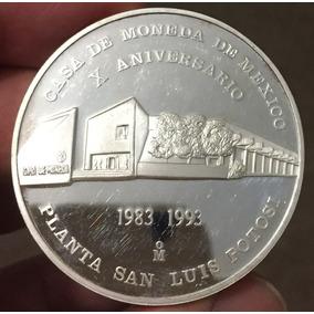 Mexico 1993 Casa Moneda San Luis 10 An. Onza Plata Oportuni