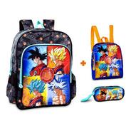 Mochila Dragon Ball Original Costas Azul Lancheira + Estojo