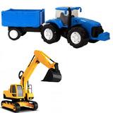 Escavadeira Brinquedo + Trator Traçado Carreta