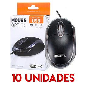 Kit 10 Unidades Mouses Usb Hard Line Fm-04 Optico Preto Box