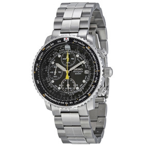 Reloj Seiko Aviador Sna411 Cronografo Acero Cuarzo Nuevo