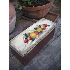 caja de madera caja de te pintada a mano vintage frutas
