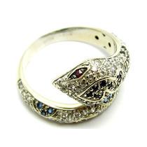 Joianete A9315-14963 Anel Cobra Ouro Branco Pedras Branca