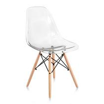 Cadeira Acrilica Charles Eames Wood - Design Transparente