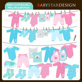 Kit Digital Baby Cha Roupinha Varal Silhouette 043