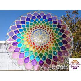 Mandala Colgantes En Vidrio 20cm Para Reiki Yoga Meditacion