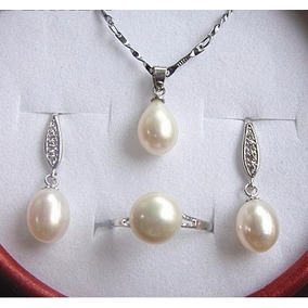 Set De Collar, Arete Y Anillo De Perla Cultivada