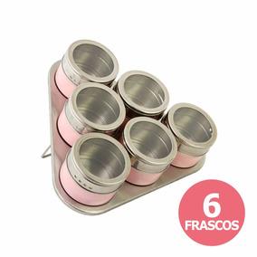 Set 6 Especieros Rosas Acero Con Iman Base Acero Triangular